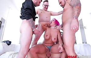 Pink-haired mature almost glasses serves four hard cocks at forward of