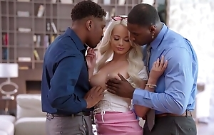 Pretty blonde babe acquires fucked away from two horny black guys