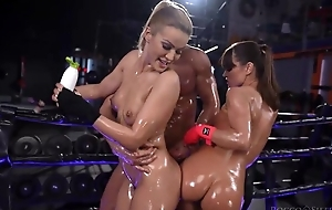 Two wild Serbian sweethearts get oiled up and screwed hard to the gym